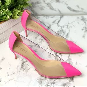 New! Clear Pointed Toe Pump Pink
